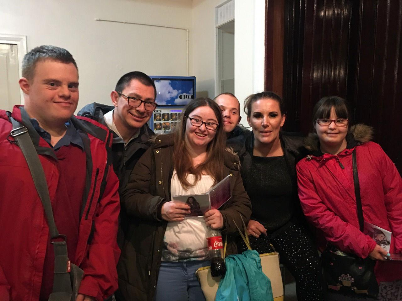 Paul, Nick, Hilly, Sam and Megan with Sam Bailey.