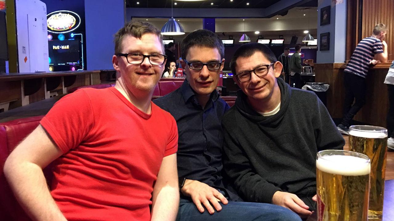 Richard, Lewis and Nick at bowling.
