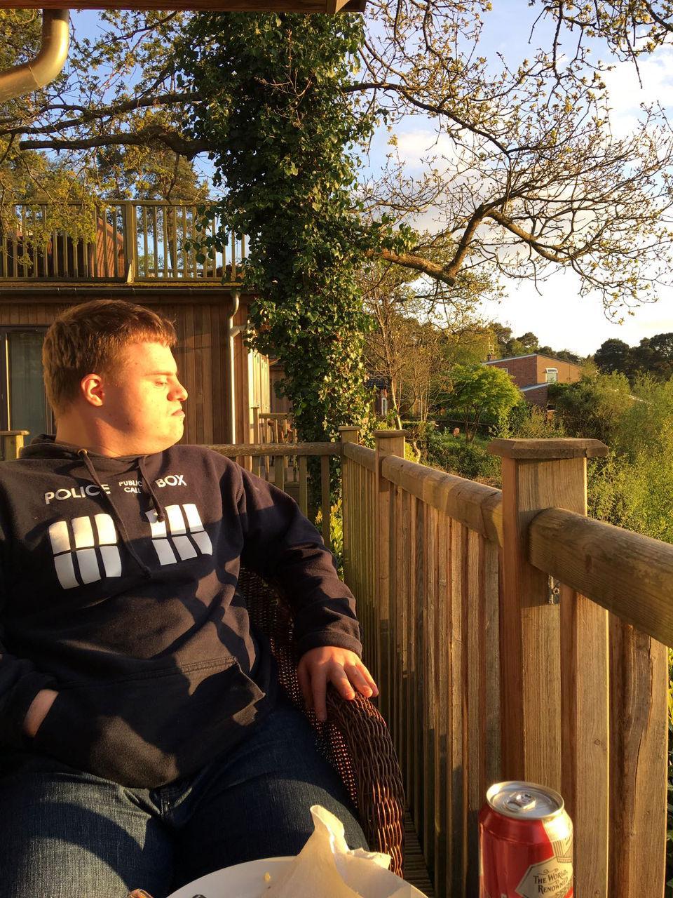 Paul in profile enjoying the sunset.