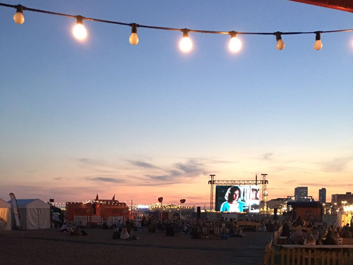 Sunset over outdoor cinema.