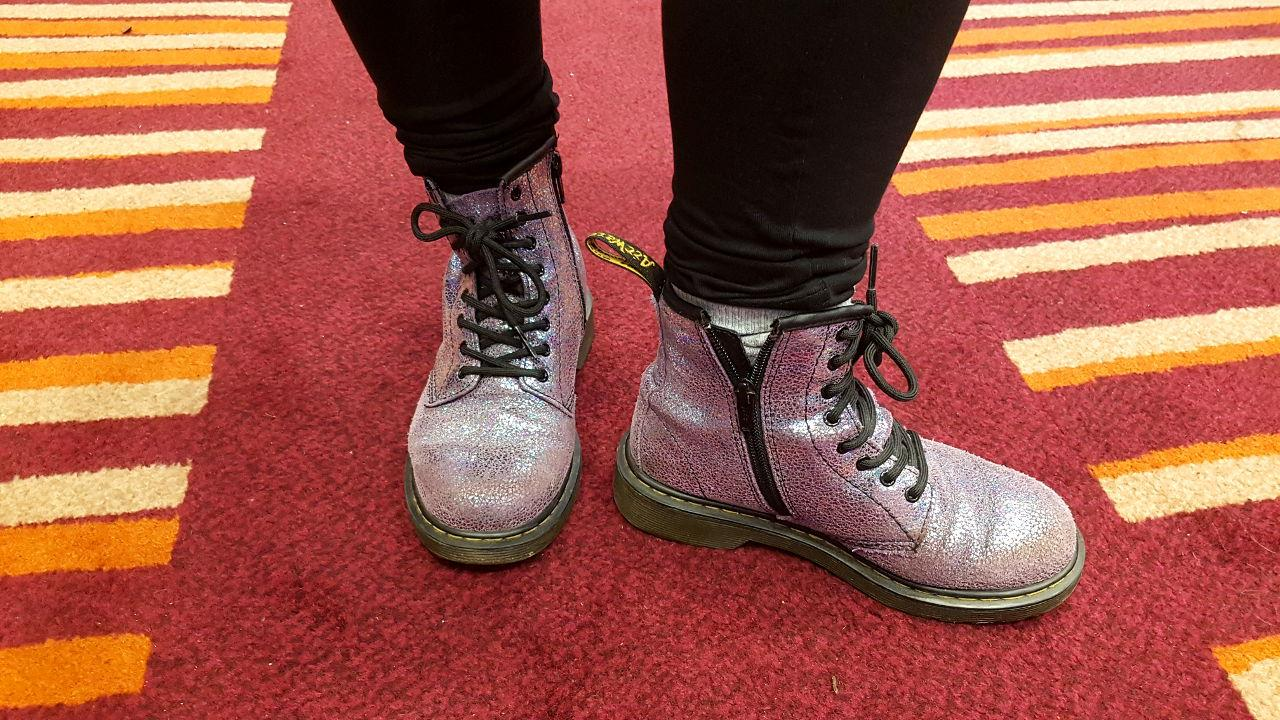 Hilly's pink, sparkly Doc Martens.