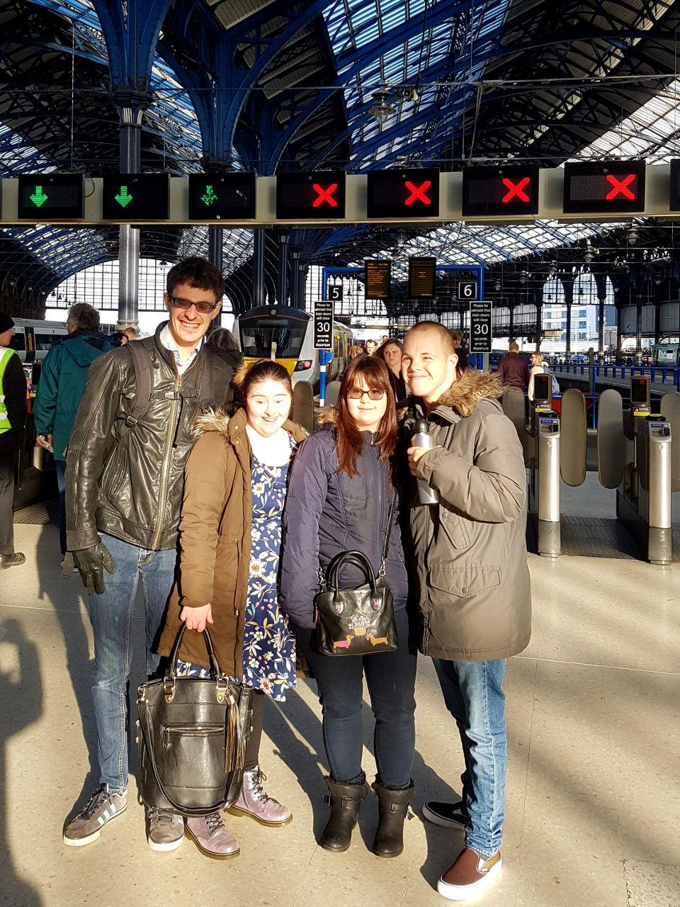 Lewis, Hilly, Megan & Sam at Brighton Railway Station.