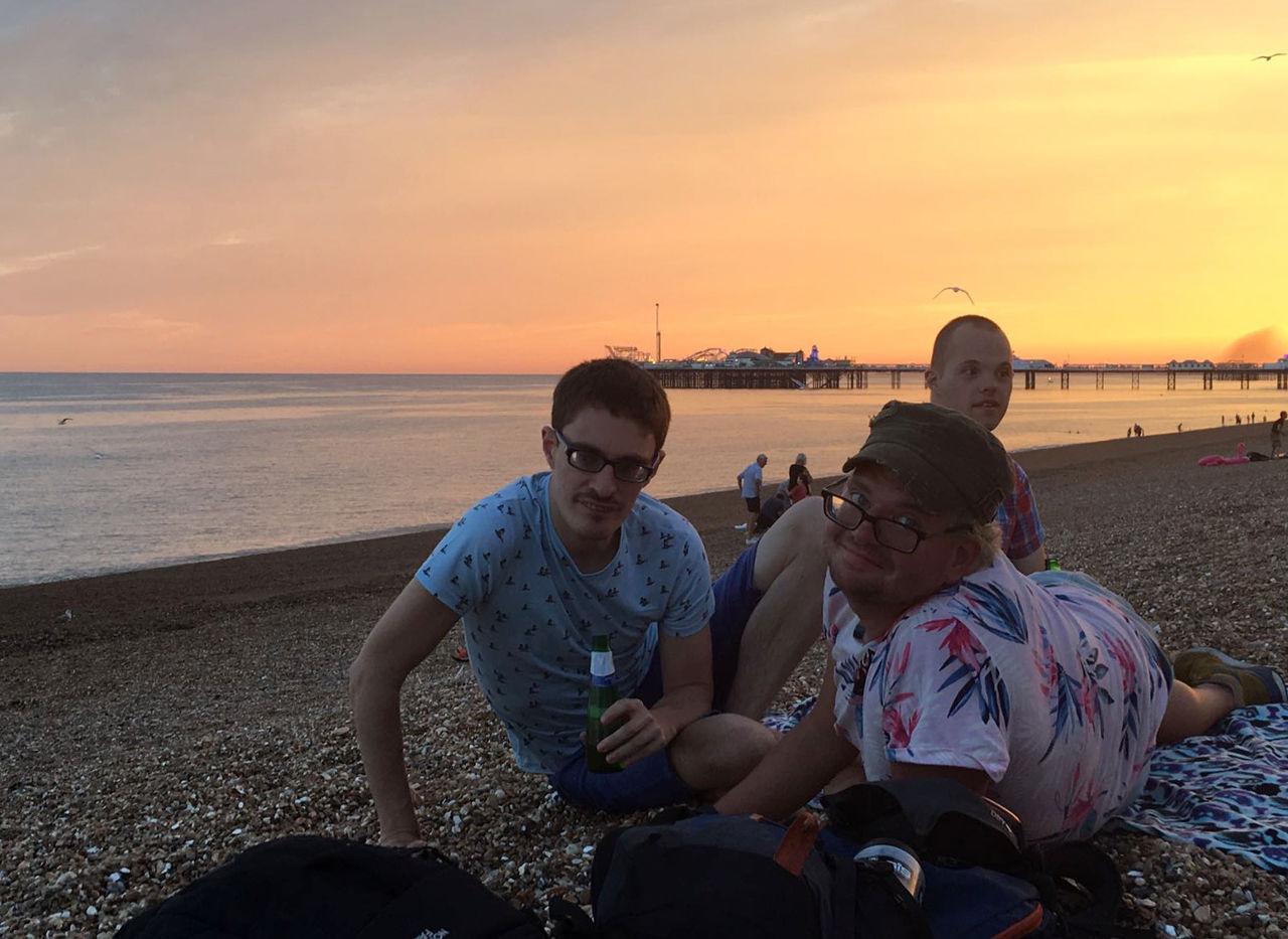 Lewis, Chris & Sam on the beach.