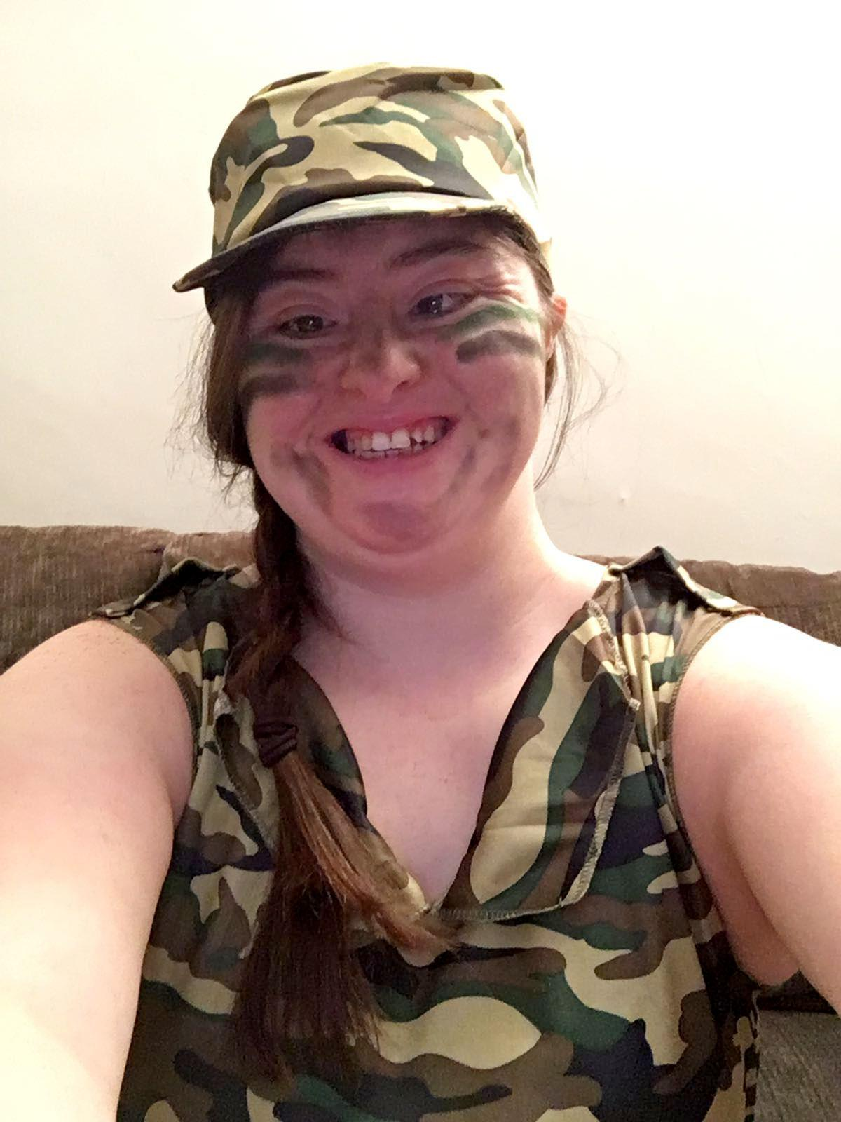 Hilly in camoflage clothes.