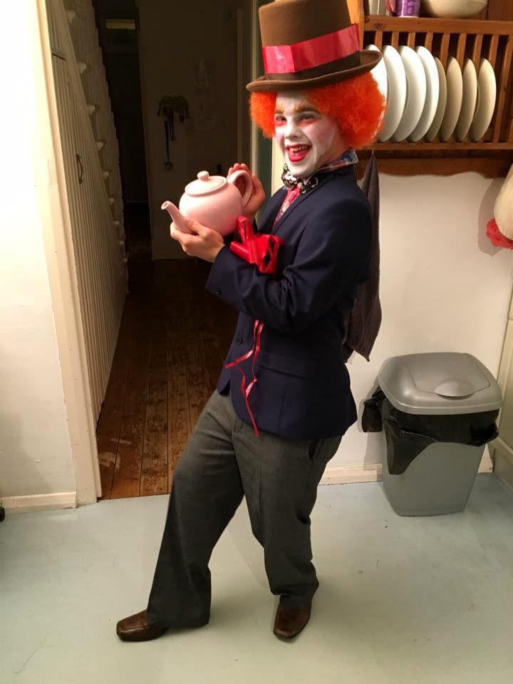 Sam dressed as the Mad Hatter.