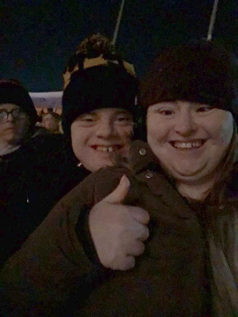 Hilly and Paul selfie at the fireworks in Brighton.