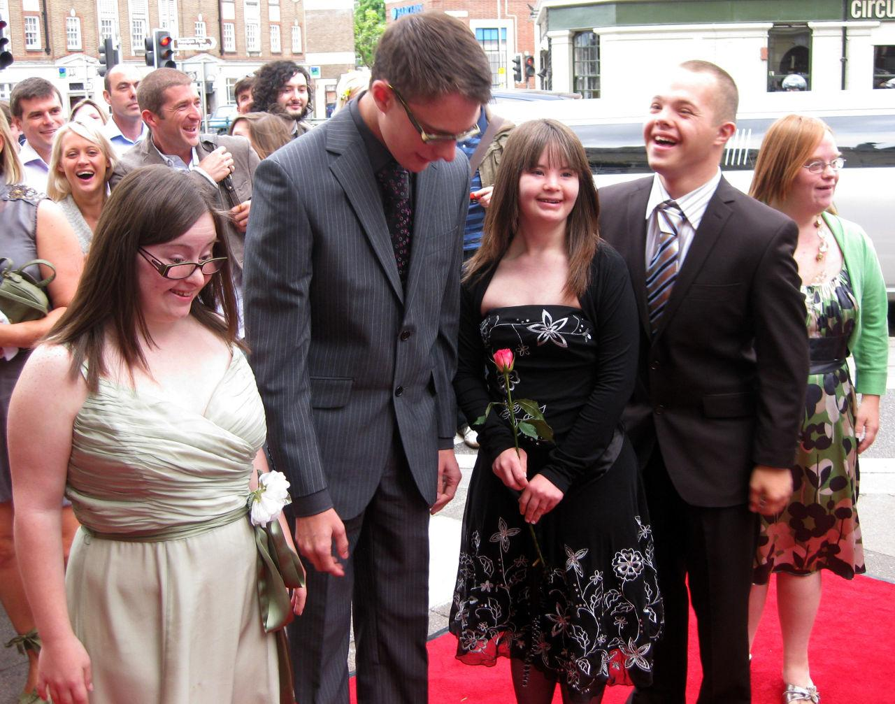 Hilly, Lewis, Megan, Sam and Lucy at the premiere in Brighton.