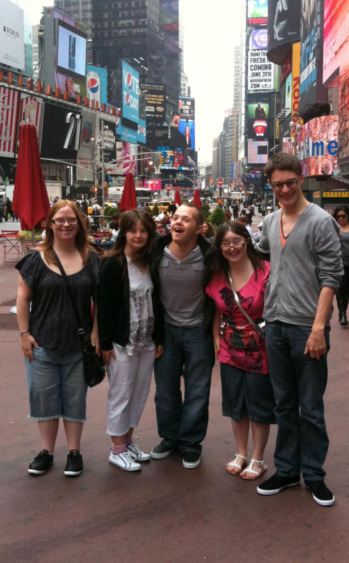 Lucy, Megan, Sam, Hilly and Lewis in Times Square NYC.