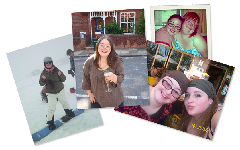 Group of 4 photographs: Hilly snowboarding, Hilly with a glass of bubbly, Hilly hugging Lucy, and Hilly with her sister Poppy.