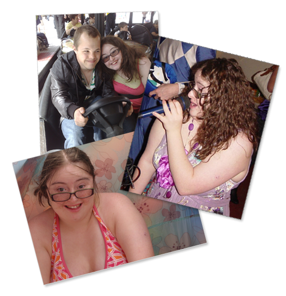A collage of 3 photographs: Sam and Hilly on a bumper car, Hilly singing karaoke, Hilly on summer holiday.