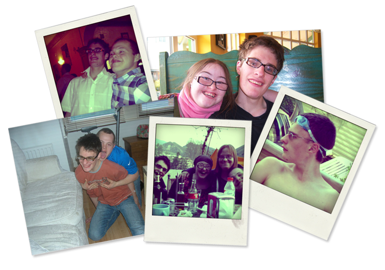 Group of 5 photographs: Lewis & Sam; Hilly & Lewis; Sam hugging Lewis; Lewis enjoying après-ski with Hilly, Lucy and Sam; Lewis with swimming goggles.