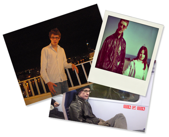 A collage of 3 photographs: Lewis on summer holiday, Lewis with Megan, Lewis on the trian.