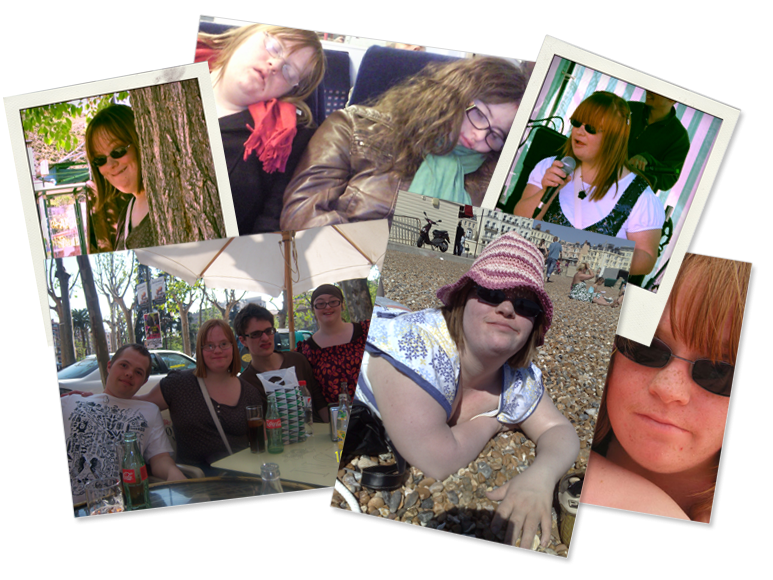 Collage of 6 photographs: Lucy next to a tree; Lucy sleeping on the train with Hilly; Lucy singing into a microphone; Sam, Lucy, Lewis and Hilly on holiday; Lucy on Brighton beach; Lucy in sunglasses.