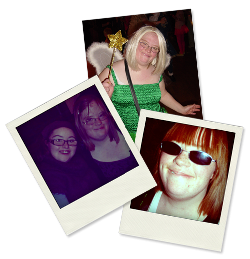 A collage of 3 photographs: Lucy in fancy dress as Tinkerbell, Hilly and Lucy, Lucy in sun glasses.