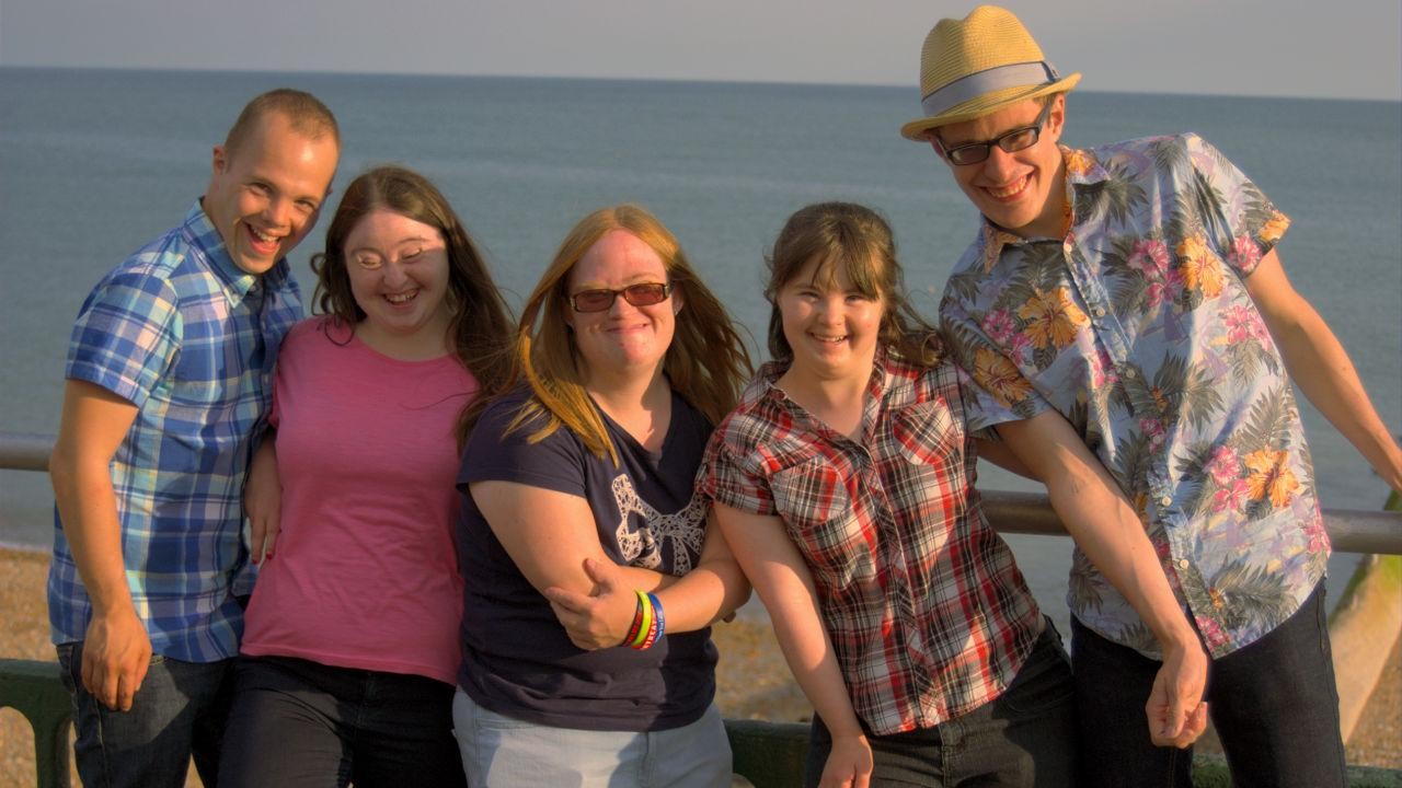 Sam, Hilly, Lucy, Megan and Lewis on Brighton beach front.