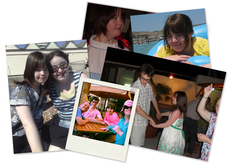 Group of 4 photographs: Megan and Lucy; Megan in fancy dress; Megan in the sea; Sam, Lewis, Megan and Lucy; Lewis and Megan dancing!