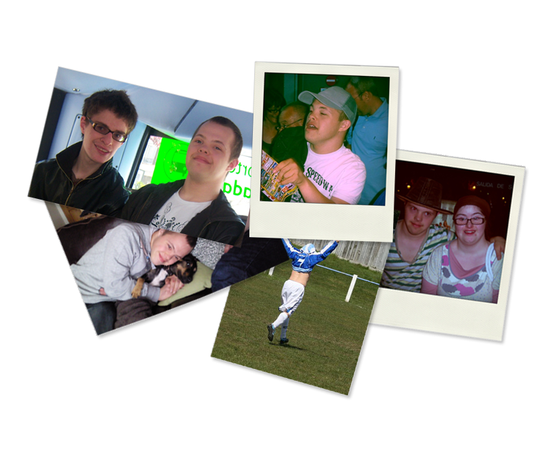 Group of 5 photographs: Lewis and Sam, Sam in a baseball cap, Sam cuddling a dog, Sam celebrating in football, Sam and Hilly.