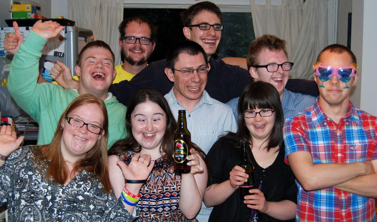 Lucy, Paul, Chris, Hilly, Nick, Lewis, Megan, Richard and Sam celebrate the broadcast of the show on OWN.