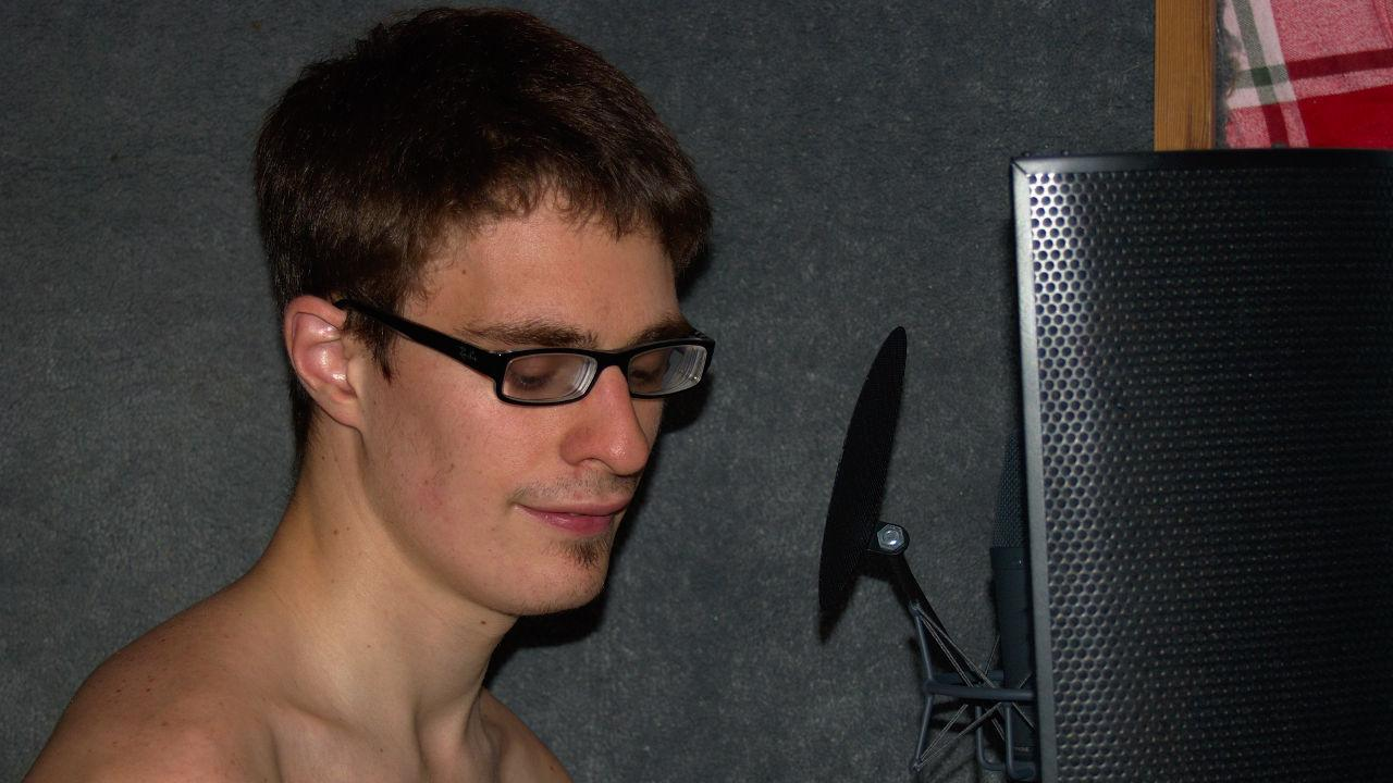 Lewis in the voiceover boothe.