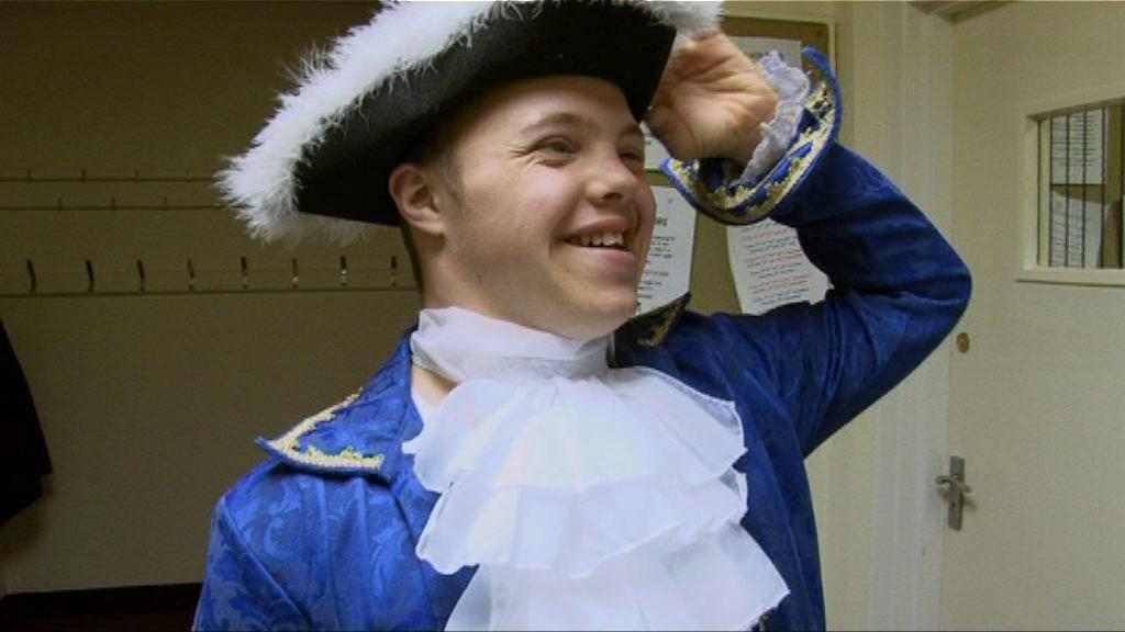 Sam in fancy dress as Princ Charming.