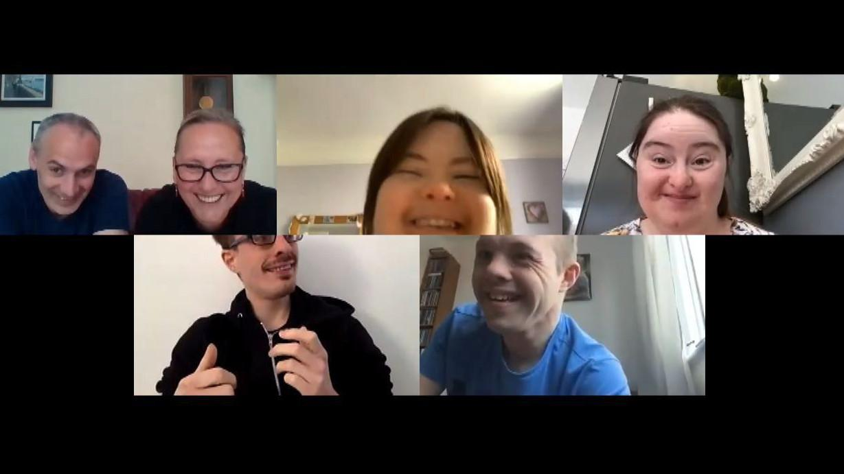 Dan, Katy, Megan, Hilly, Lewis and Sam on a Zoom chat.